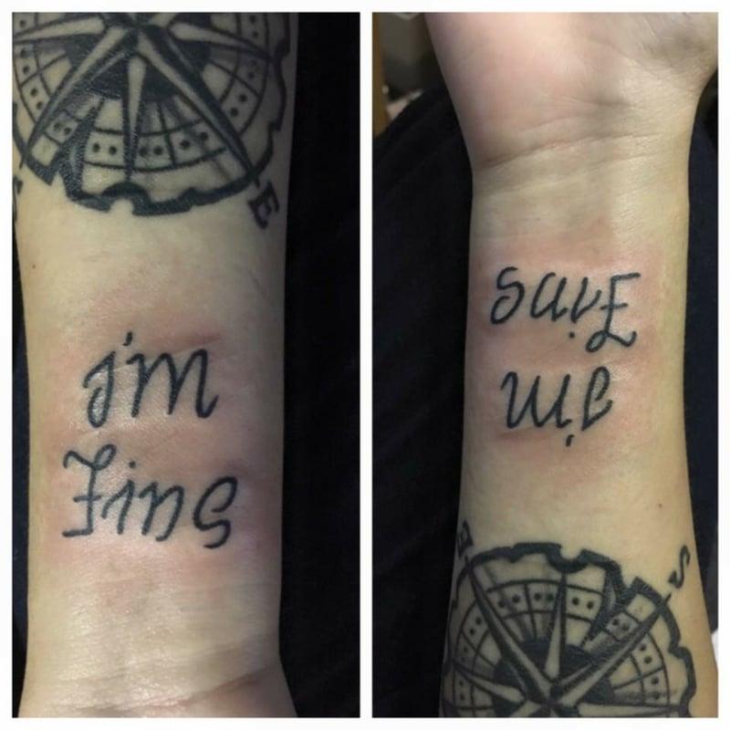 Depression Tattoo I am fine Save me