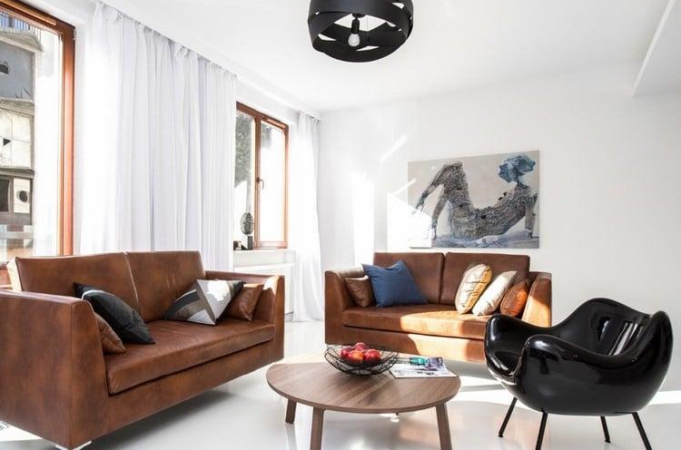 Wohnzimmer Sitzecke zwei Ledersofa