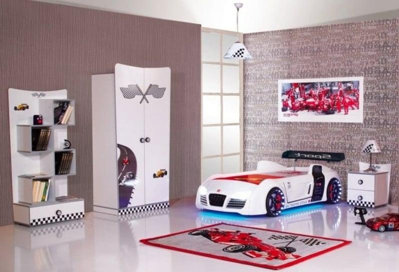 Kinderzimmer einrichten Formel 1 Bett Auto
