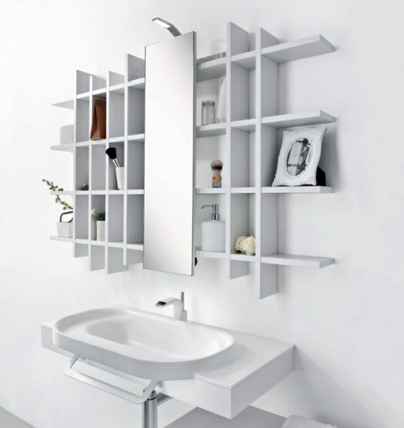 Regalsystem Wandspiegel Waschbecken Bad