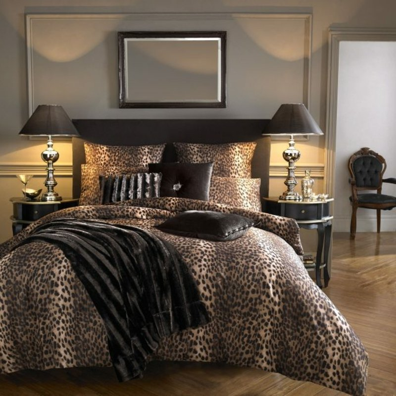 Schlafzimmer Bettdecke Kissenhüllen Tiermuster