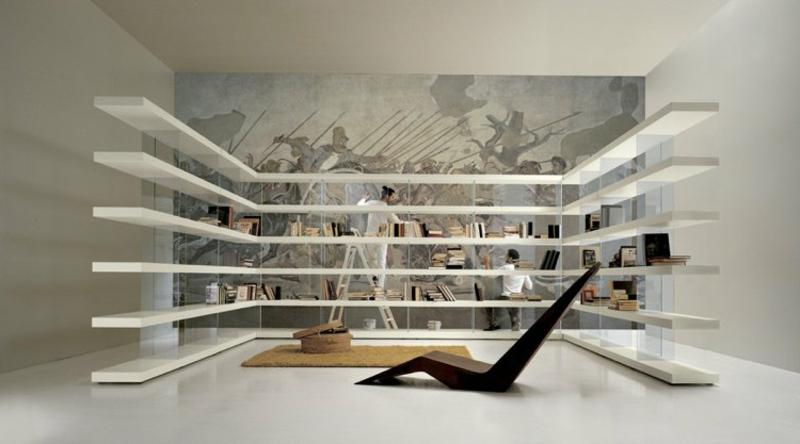 Bücherregal groß Holz und Glas