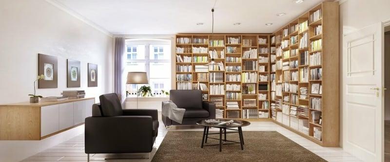 Wohnzimmer große Bücherregale