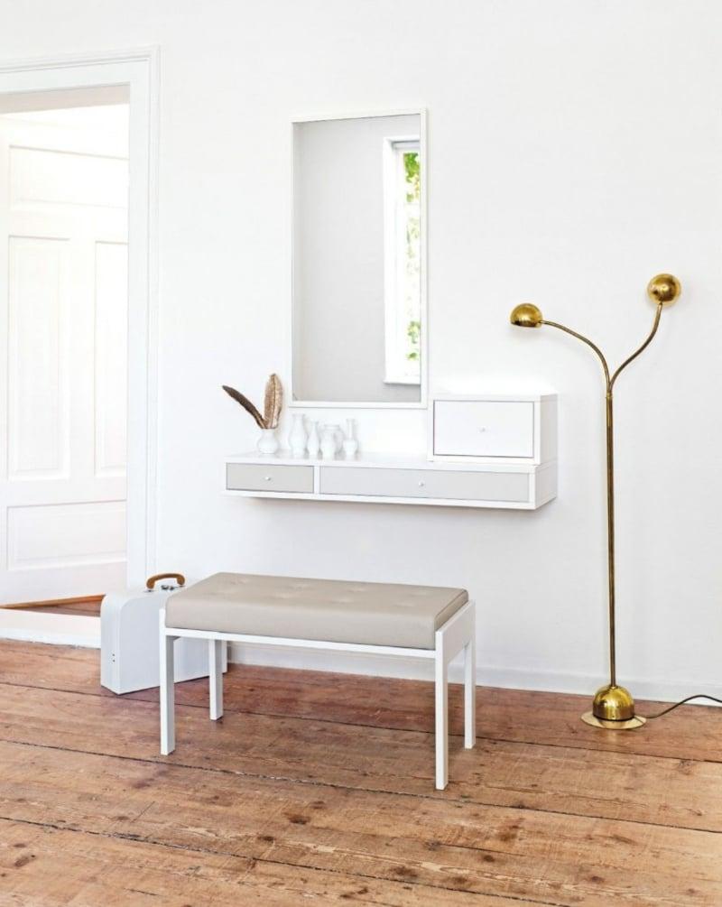 Schminktisch mit Hcker und Spiegel besonders stilvoll minimalistisch