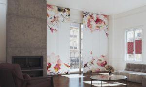 Flächengardinen Wohnzimmer Blumenmuster