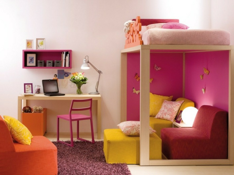 Mädchenzimmer Etagenbett Lernplatz Schreibtisch