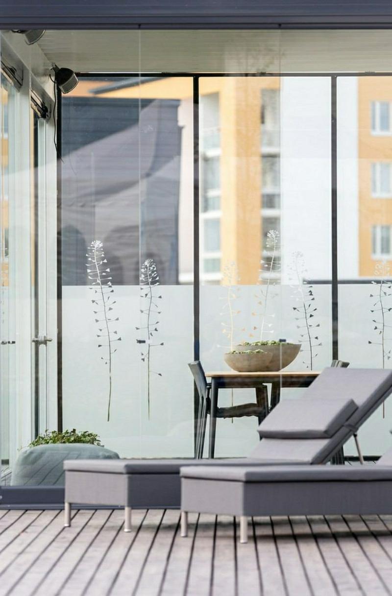 Windschutz Terrasse Glastüren