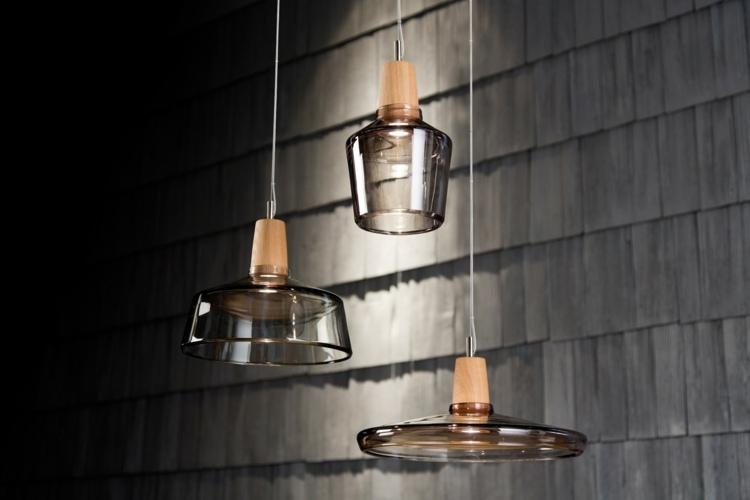 Wohnzimmerlampen originell Glas Holz