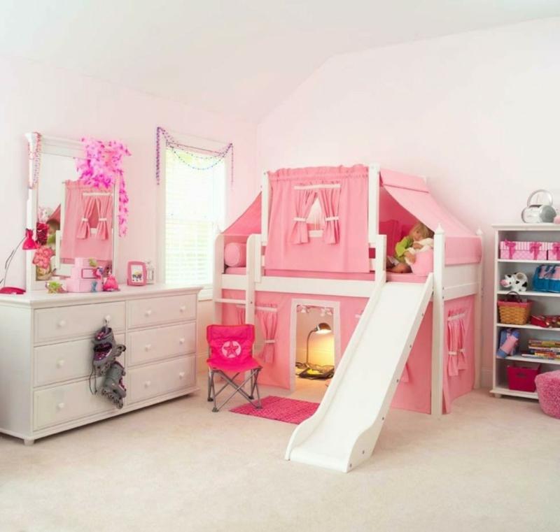 Hochbett mit Rutsche Mädchenzimmer