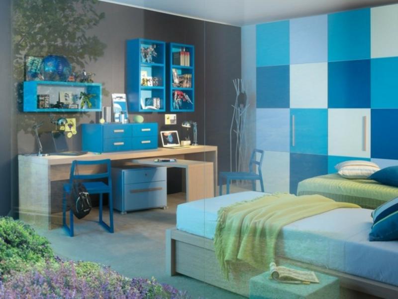 Jugenzimmer blau und grau Mäbel Bett Schreibtisch