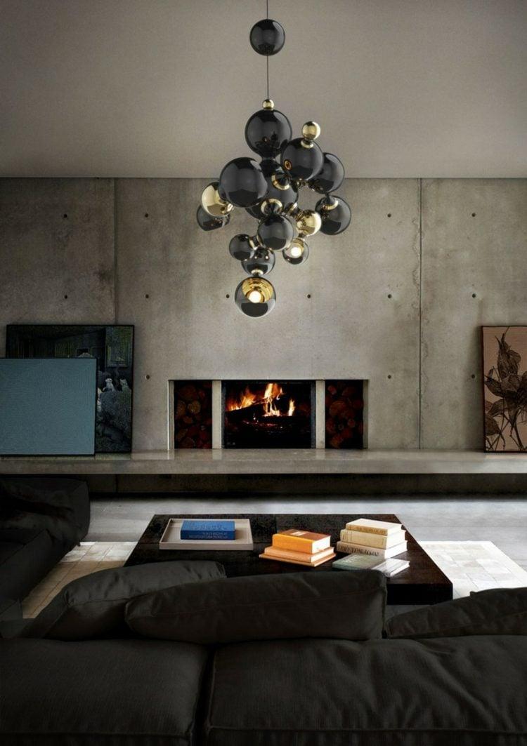 runde Metallkugeln Lampe Wohnzimmer