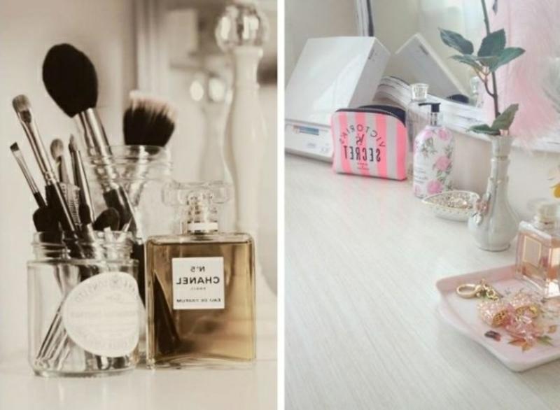 Make-up Pinseln und Parfums in Ordnung halten