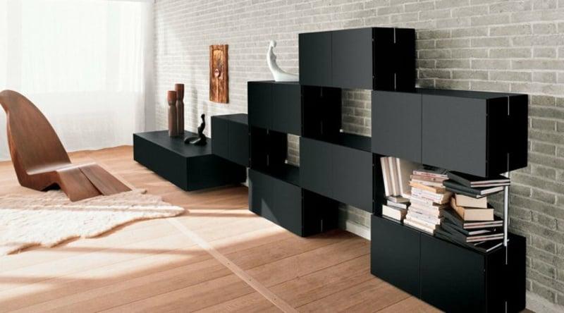 Regalsystem schwarz rechteckig moderner Look