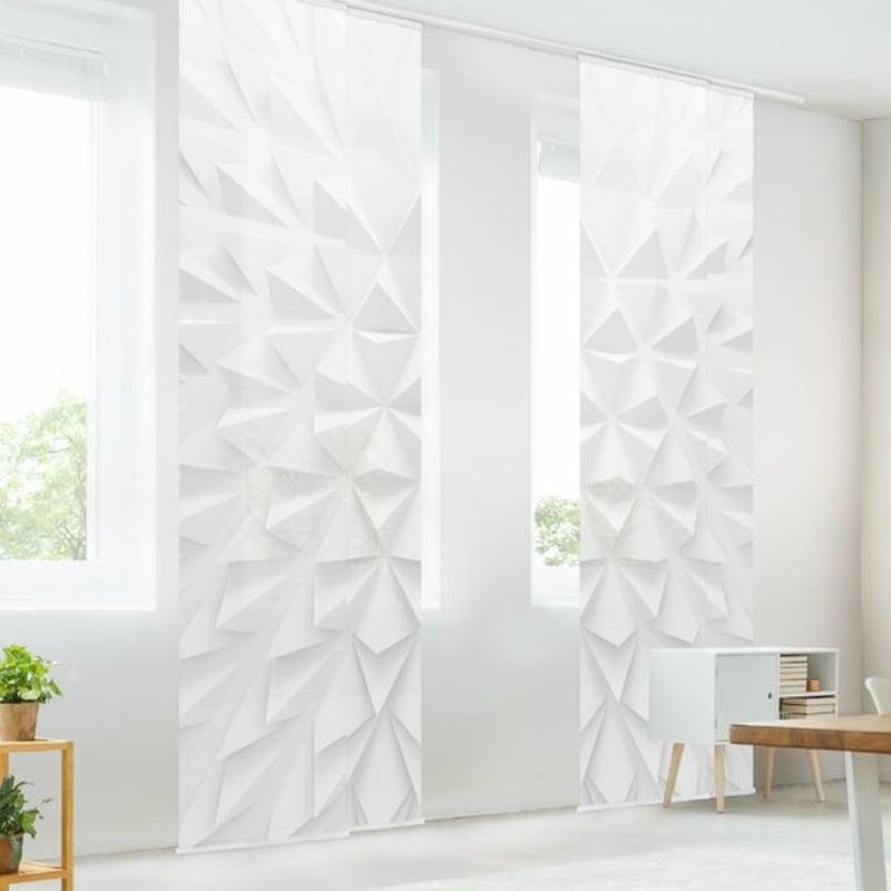 weiße Flächengardinen 3D Muster