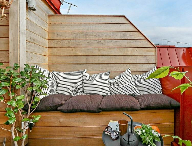 Windschutz Terrasse Sitzecke Holz
