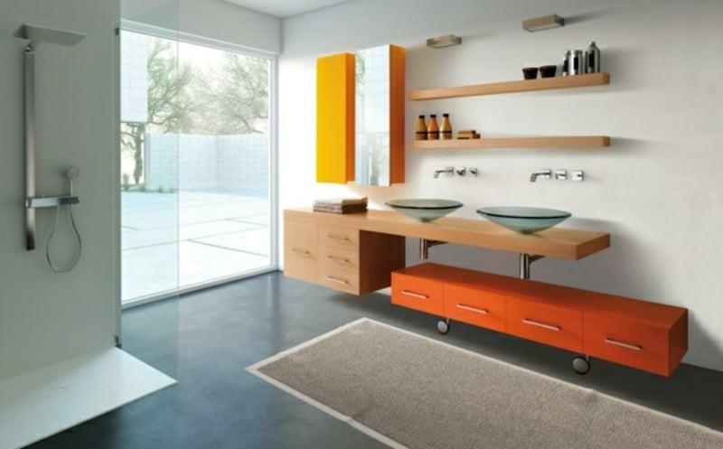 Spiegelschrank Bad zwei Aufsatzwaschbecken