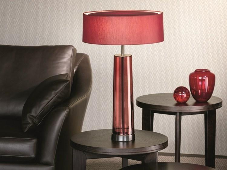 Lampe rot Beistelltisch Txtil und Glas