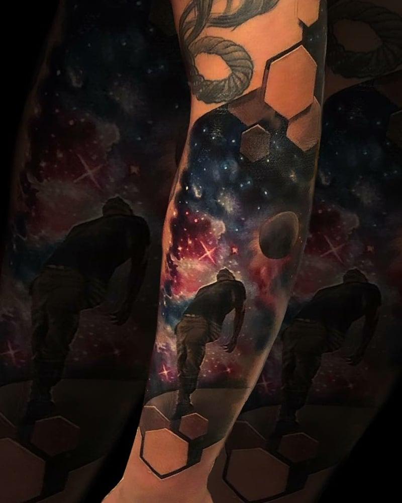 Tattoo Hexagone Weltraum wirklich modern