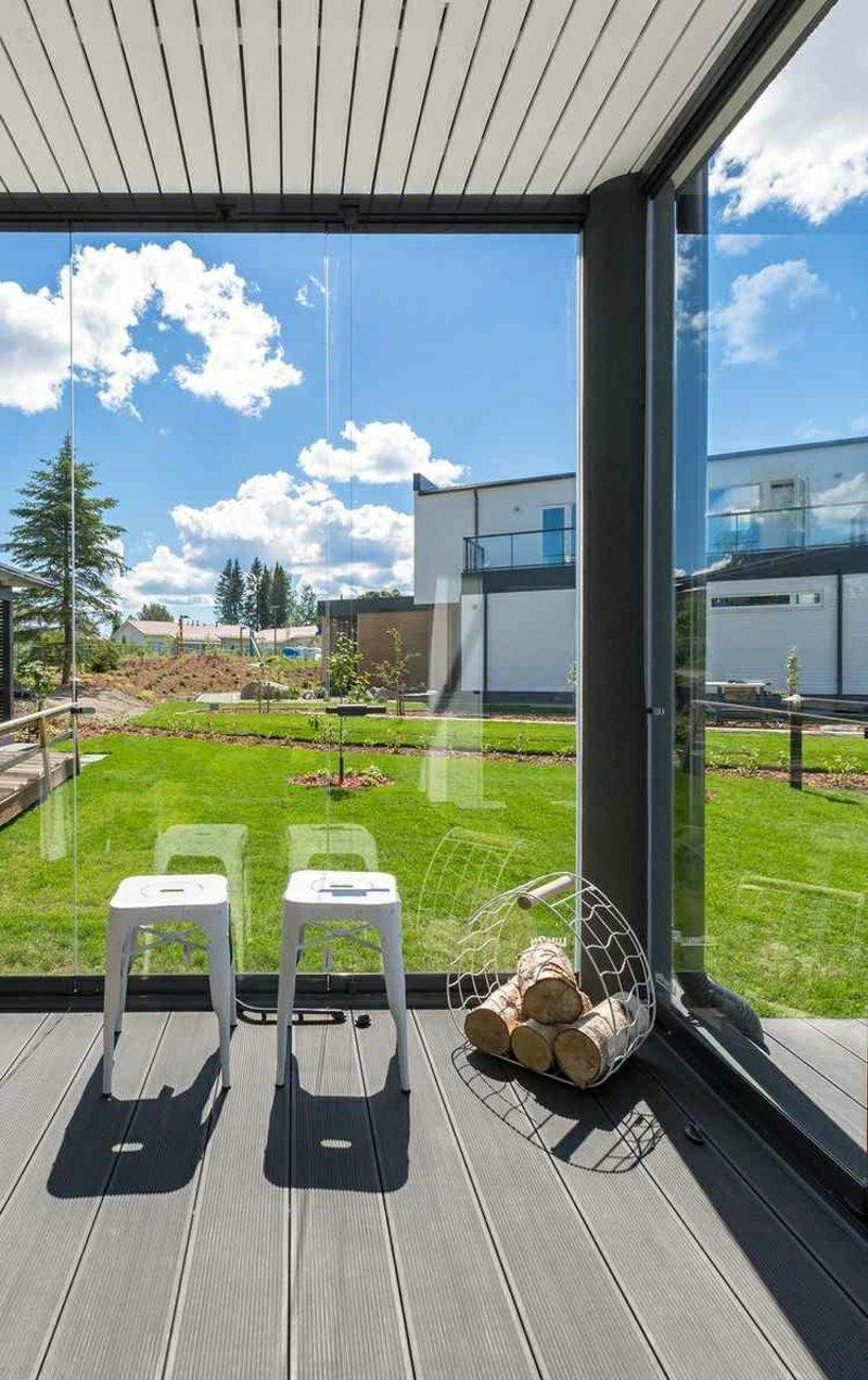 Schiebefenster Glas durchsichtig Terrasse
