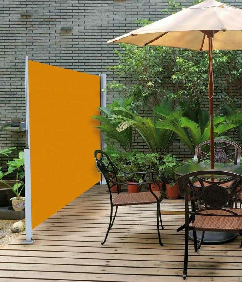 mobile Markise orange Stoff Sichtschutz