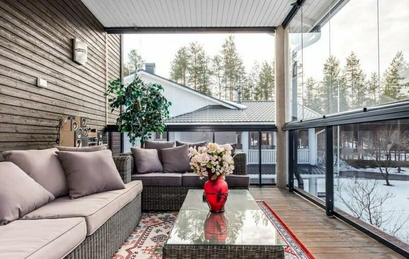 Windschutz Terrasse transparent moderner Look