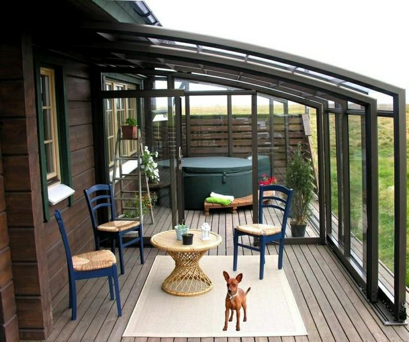 Windschutz Terrasse Überdachung Glastüren modern