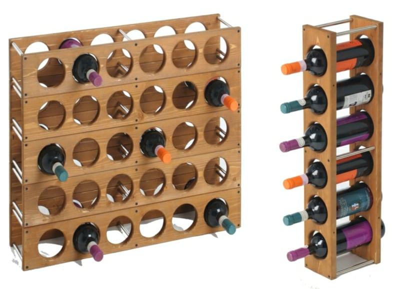 Holzregal für Weinflaschen eleganter Look