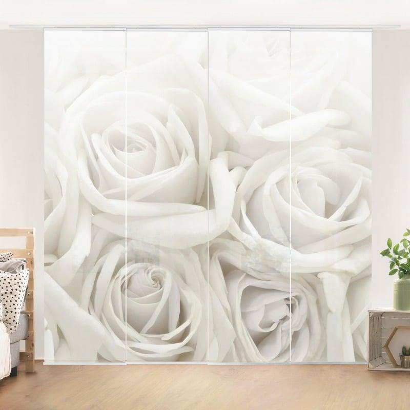 Schiebegardinen weiße Rosen 3D