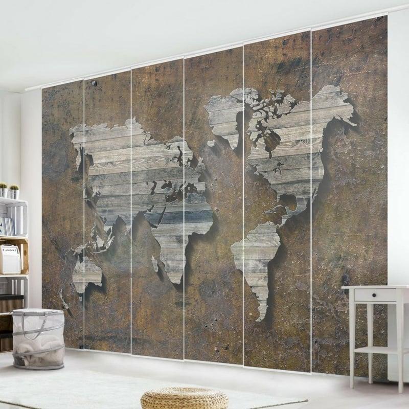 Schiebegardinen Weltkarte Raumteiler