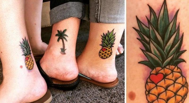Ananas Tattoo Palme Füße