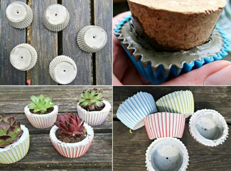 kleine Blumentöpfe machen aus Muffinförmchen
