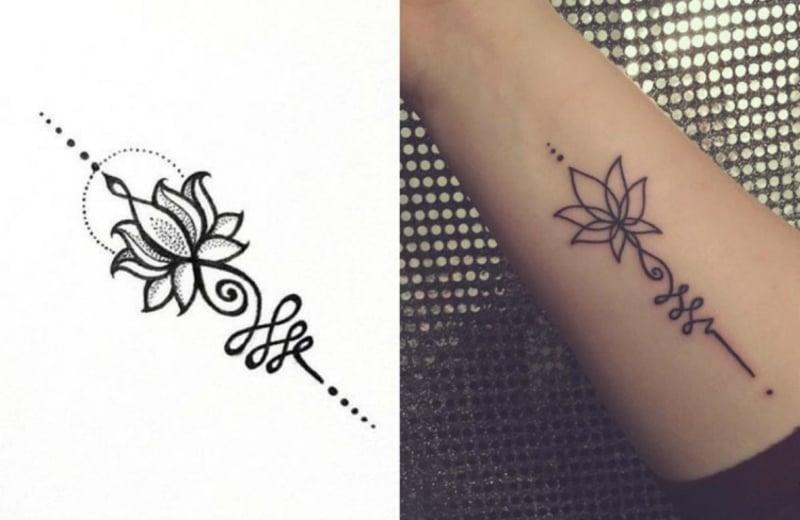 Buddhismus Tattoo Unalome sehr elegant