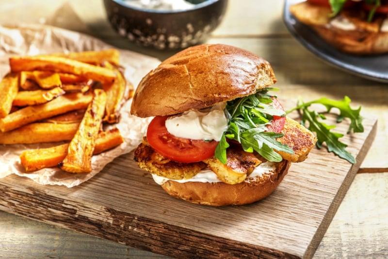 Halloumi Burger mit Gemüse Rezept