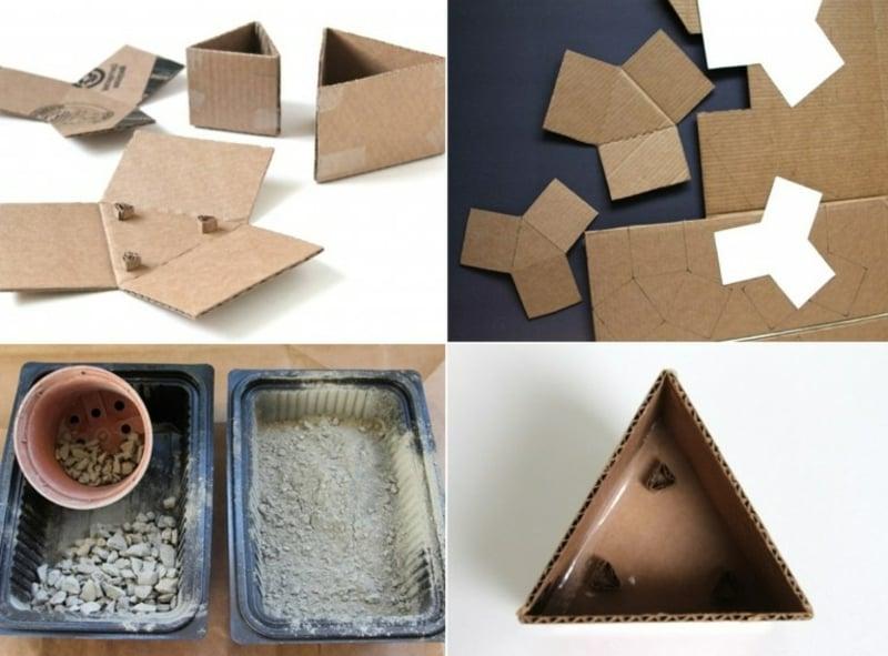Beton Deko draußen Gießform machen aus Pappe