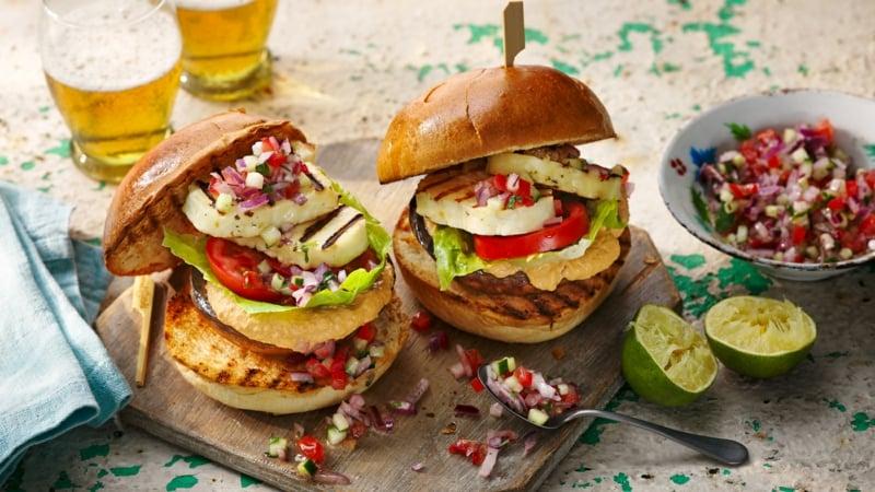 Burger mit Halloumi Käse super lecker