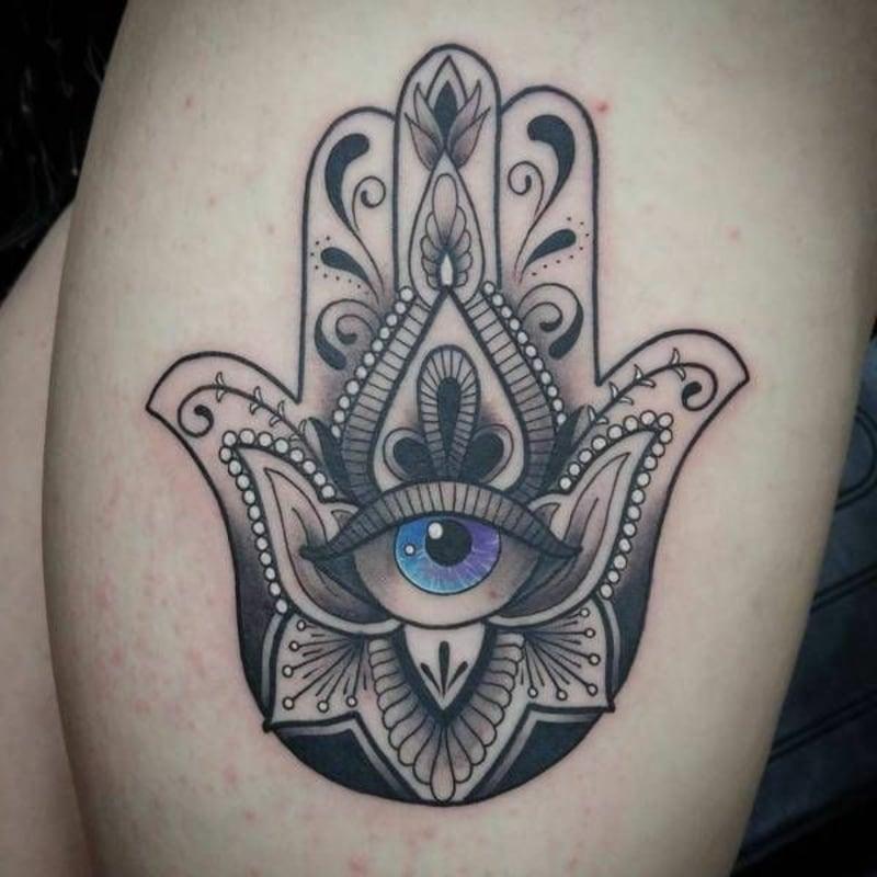Hamsa Hand blaue Auge