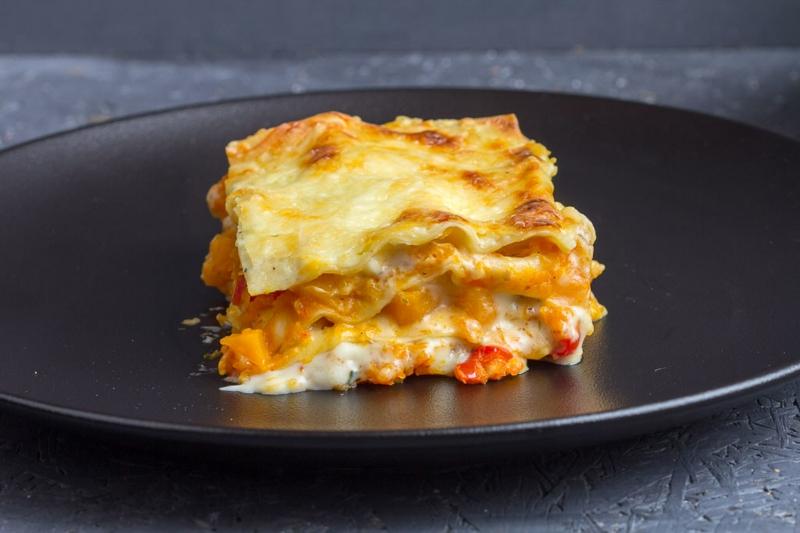 schmackhafte Lasagne mit Kürbis