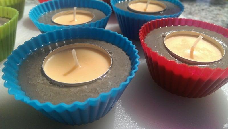 Beton Deko draußen Kerzenhalter Muffinformen