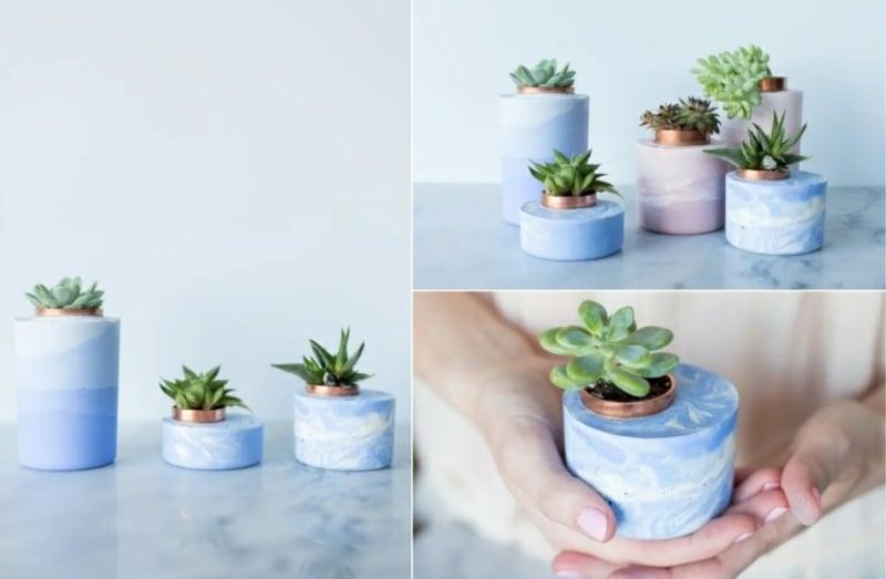 Beton Deko draußen Pflanzenbehälter in Marmor-Optik