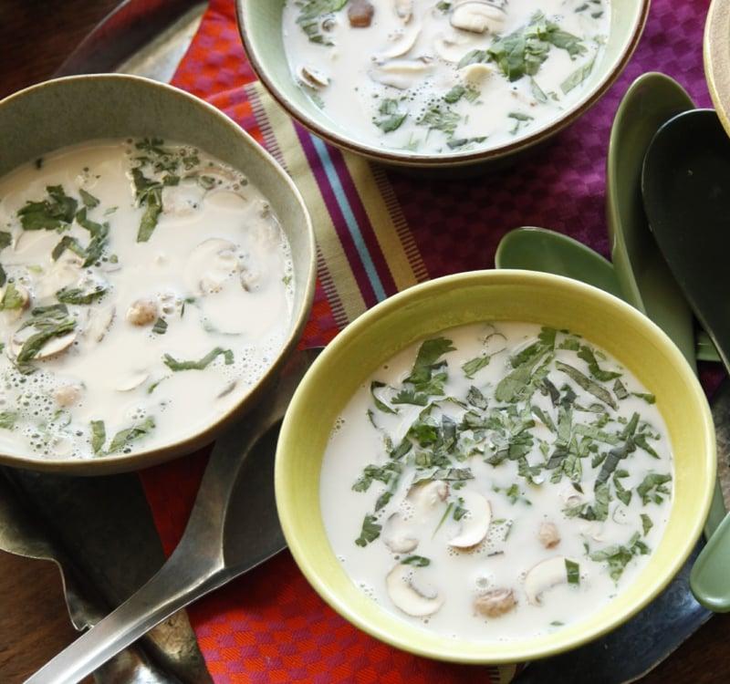 Kokosmilch Suppe mit Champignons