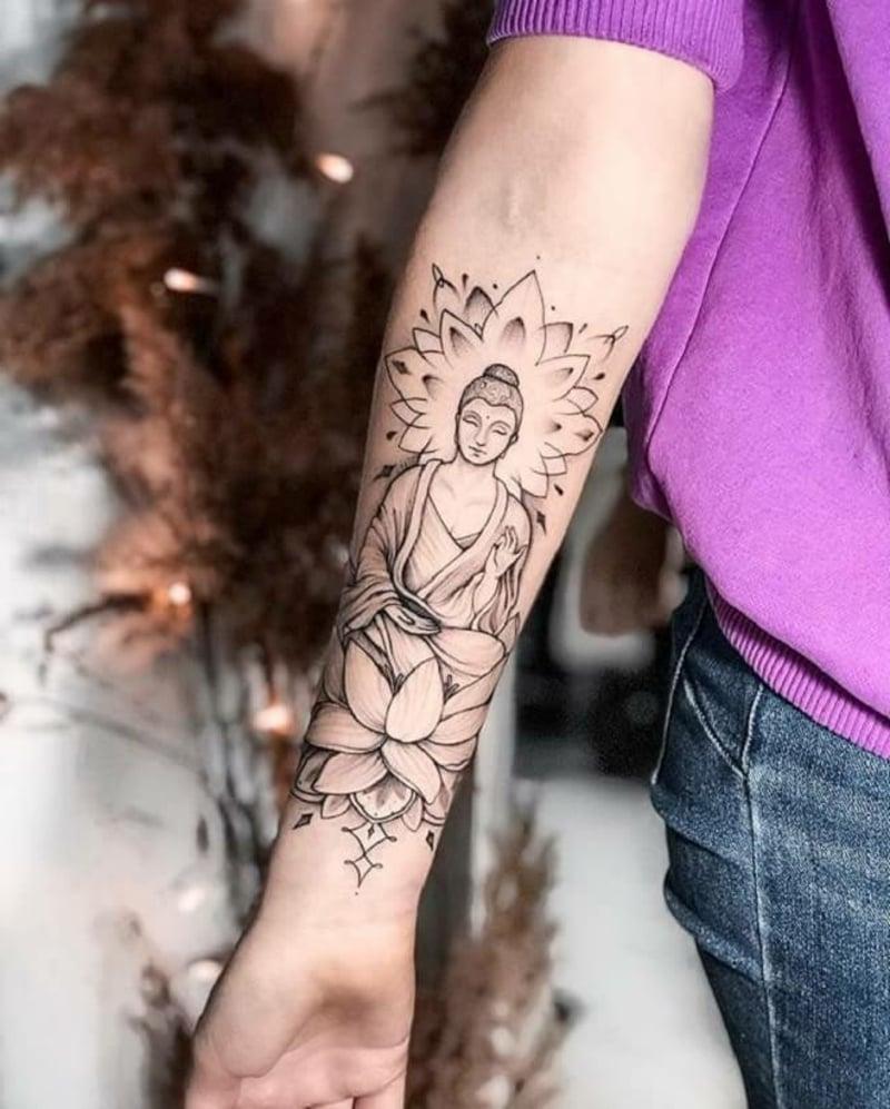 Tattoo Unterarm Buddha