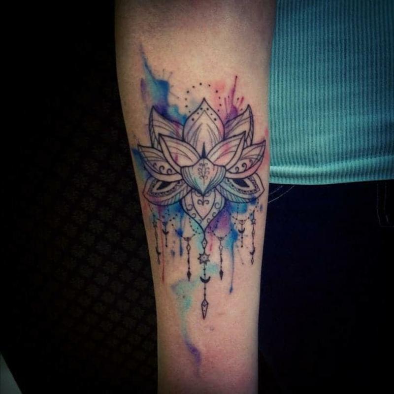 Lotus Tattoo Mandala Wasserfarben