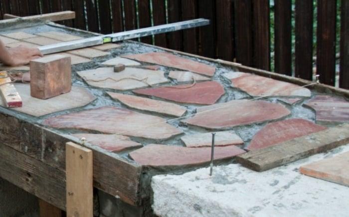 Arbeitsplatte gestalten Steinplatten