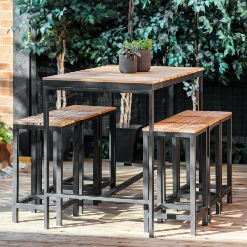 Tisch hoch Holz Metall