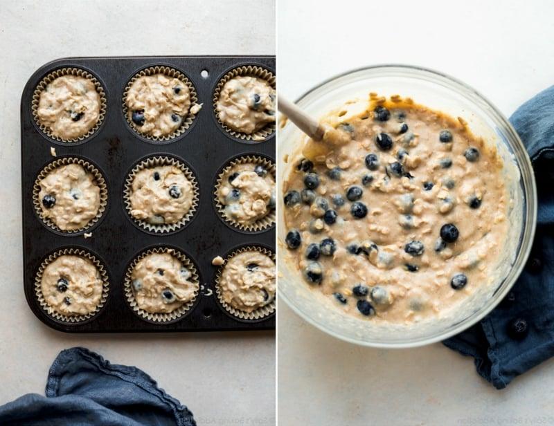 Muffinteig zubereiten mit Blaubeeren lecker
