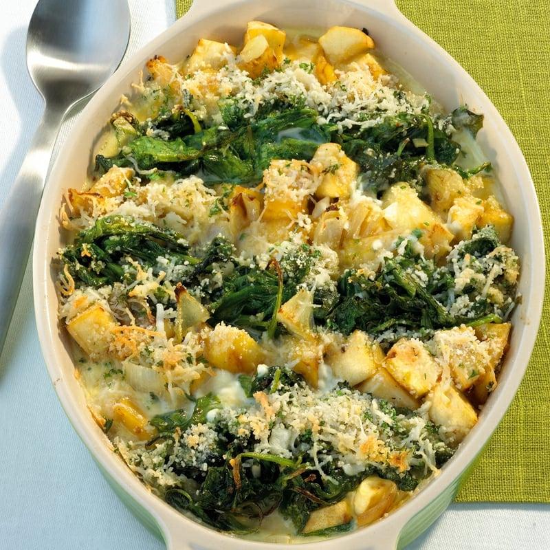 Gratin lecker mit Spinat und Parmesan