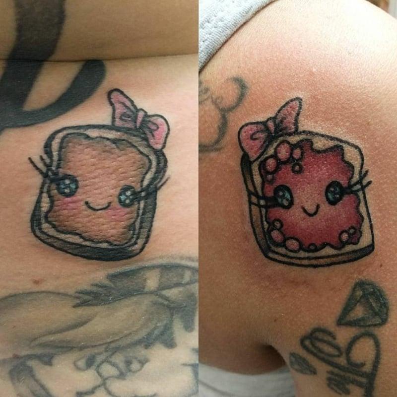 süße Tattoos Brotscheibe mit Marmelade