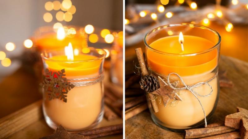 Kerzen zu Weihnachten machen Orange Zimt