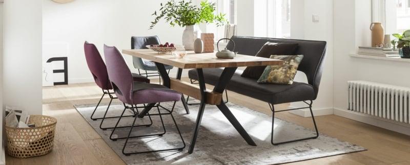 Lederbank Stühle Esstisch modern gemütlich