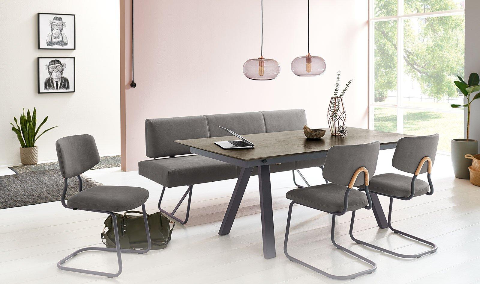 Lederbank Esstisch minimalistischer Stil